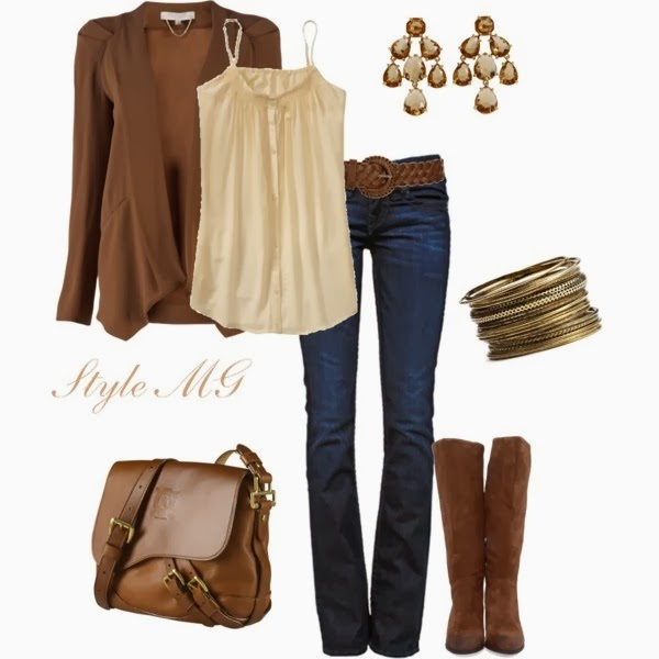 Brown Sweater with Cream Tank and Leather Brown Handbag, Dark Blue Jeans, Brown Boots, Suitable Bracelets and Earrings