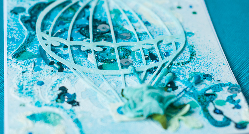 микс-медиа бирюза открытка, краски по стеклу структурная паста глиттер кракелюр спрей открытка