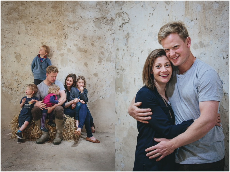 Family photos in a converted barn