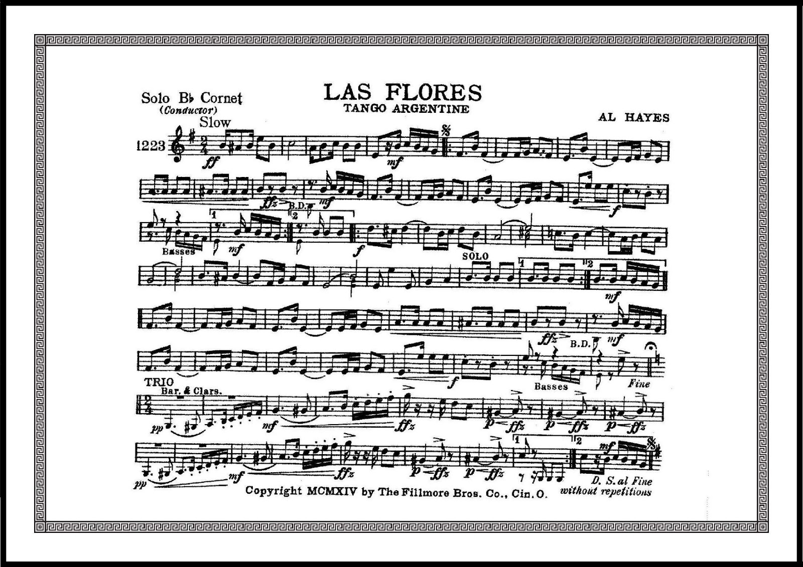 Details about marching band sheet music las flores tango argentine