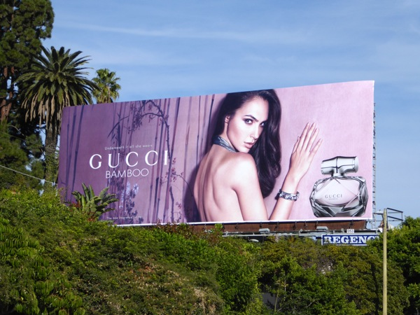 Gal Gadot Gucci Bamboo fragrance billboard