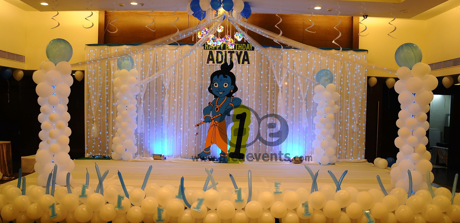 Aicaevents krishna theme birthday party decorations for 1st birthday hall decoration