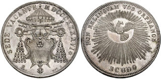coin of Vatican City showing sede vacante emblem