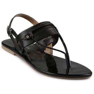 Sandal Kulit Wanita Model Japit Flat Tolliver Warna Hitam