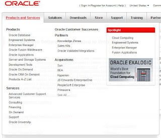 dropdown menu oracle