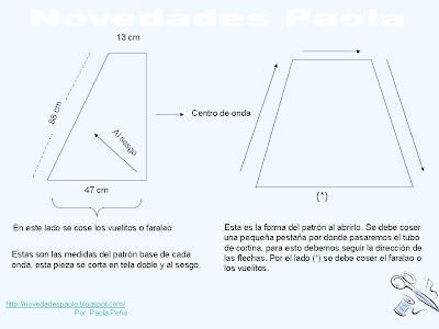 Nota: Este es el patrón de una sola onda, si la cortina lleva 2 o 3