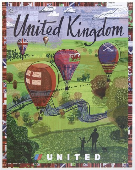 classic posters, free download, graphic design, retro prints, travel, travel posters, vintage, vintage posters, United Kingdom, United Airlines - Vintage UK Travel Poster