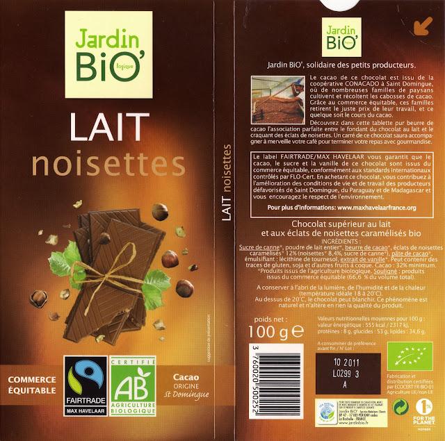 tablette de chocolat lait gourmand jardin bio lait noisettes