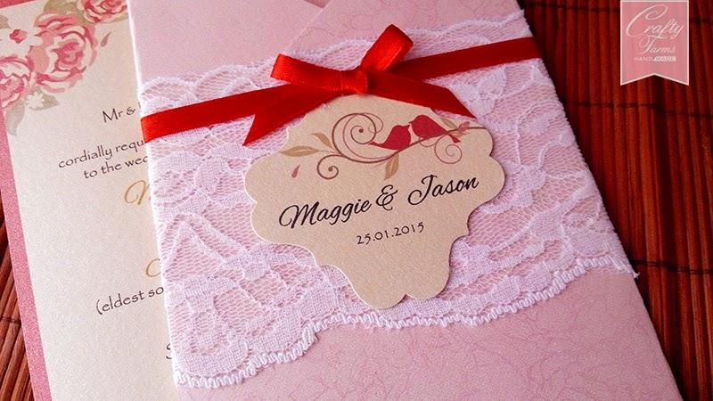 Lace and Ribbon Modern Chinese Wedding Card Hong Kong, Malaysia, Singapore