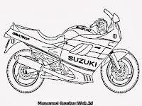 Gambar Mewarnai Sepeda Motor Sport Suzuki Terbaru