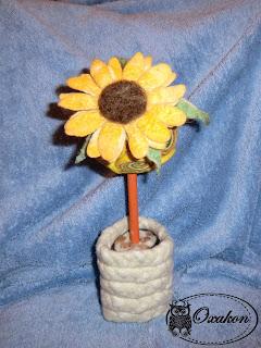 валяние, валяный топиарий, топиарий из шерсти, валяный цветок, валяный подсолнух