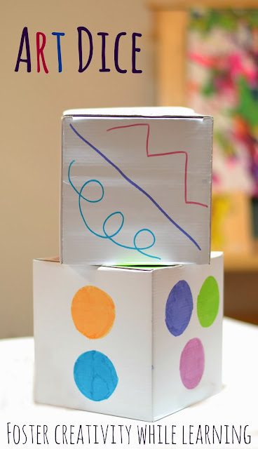 Art Dice - such a fun way for kids to create!  With each roll of the dice kids are learning and reviewing early learning concepts, too!