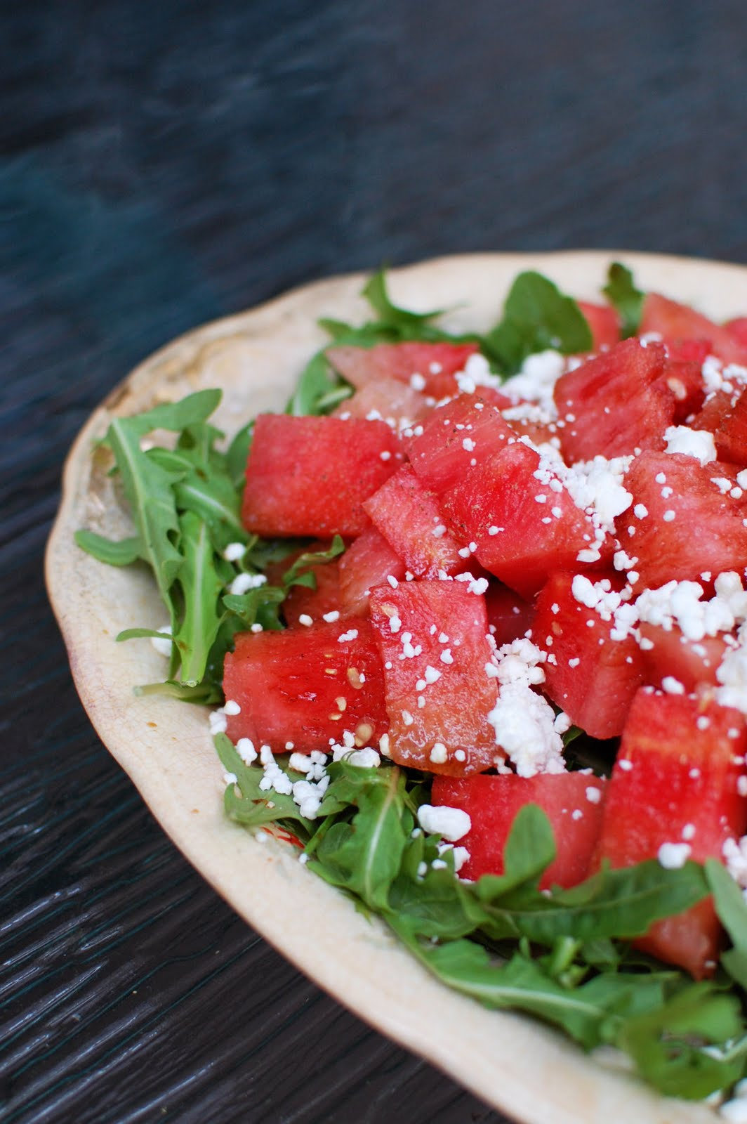 Watermelon Arugula Goat Cheese Salad | Beantown Baker