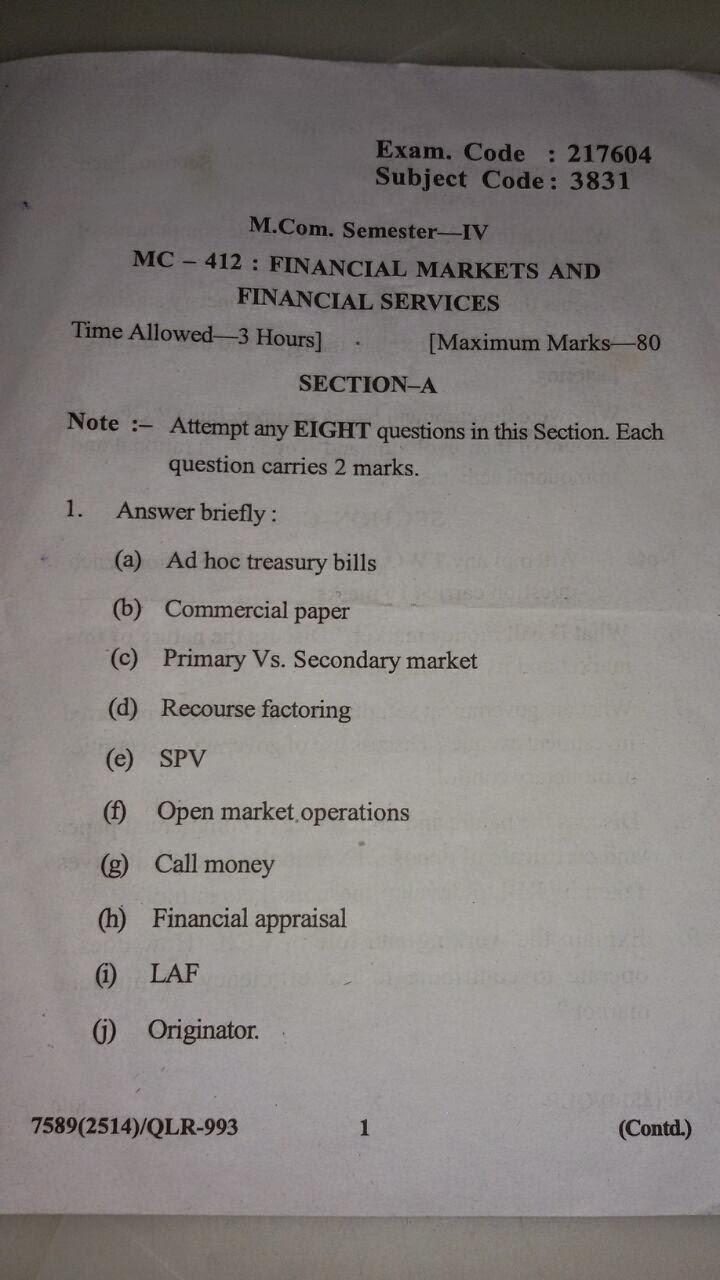 M.com 4th sem financial market and finacial services