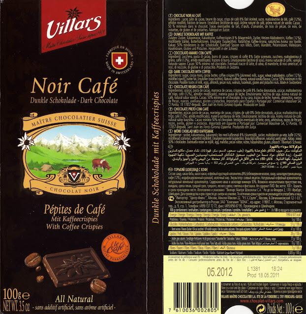 tablette de chocolat noir gourmand villars noir pépites de café