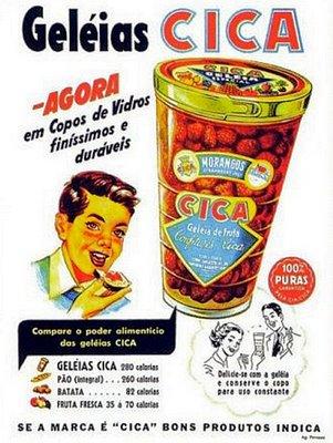 Geleia Cica e seus copos colecionáveis. Propaganda dos Anos 60.