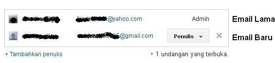 cara mengganti email blog