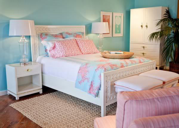 Lilly Pulitzer House Entrancing With Pink and Aqua Bedroom Image