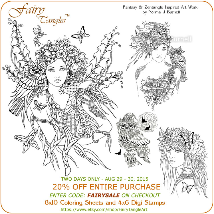 fairy tangles coloring sheets and digi stamp sale