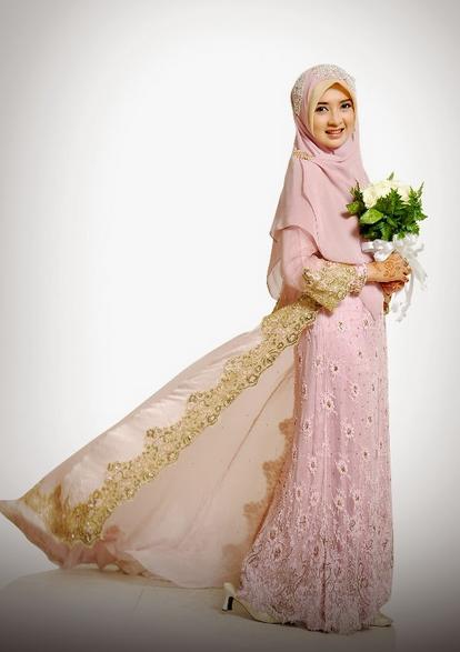 Model Baju Gaun Pengantin Muslimah Syar'i Terbaru 2015