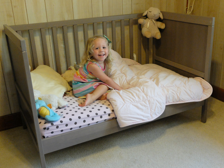 toddler bed, big girl bed, SUNDVIK crib, ikea crib, toddler bed transition