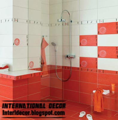 modern red wall tile designs, ideas for bathroom