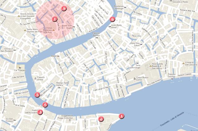 Mapa de la ruta por Venecia, día 2