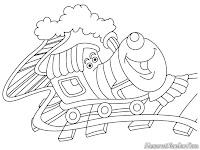 Gambar Kereta Kartun Untuk Diwarnai