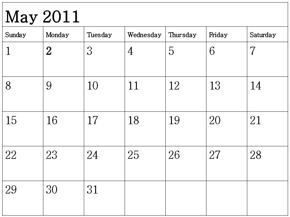 printable may calendar 2011. May 2011 Calendar to print