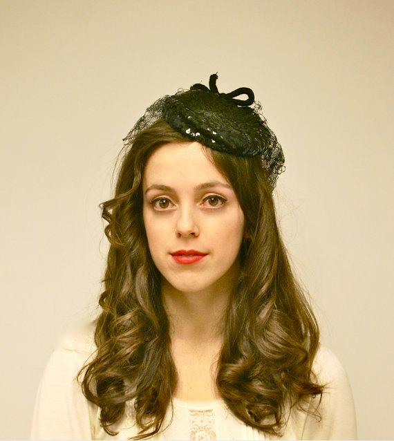 1940s Black Tilt Hat