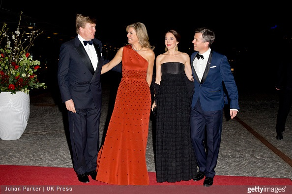 King Willem-Alexander, and Queen Maxima of the Netherlands with Crown Princess Mary, and Crown Prince Frederik of Denmark at The Black Diamond in Copenhagen