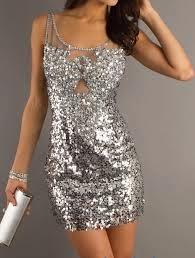 ideia de vestido tubinho com paetes prata.