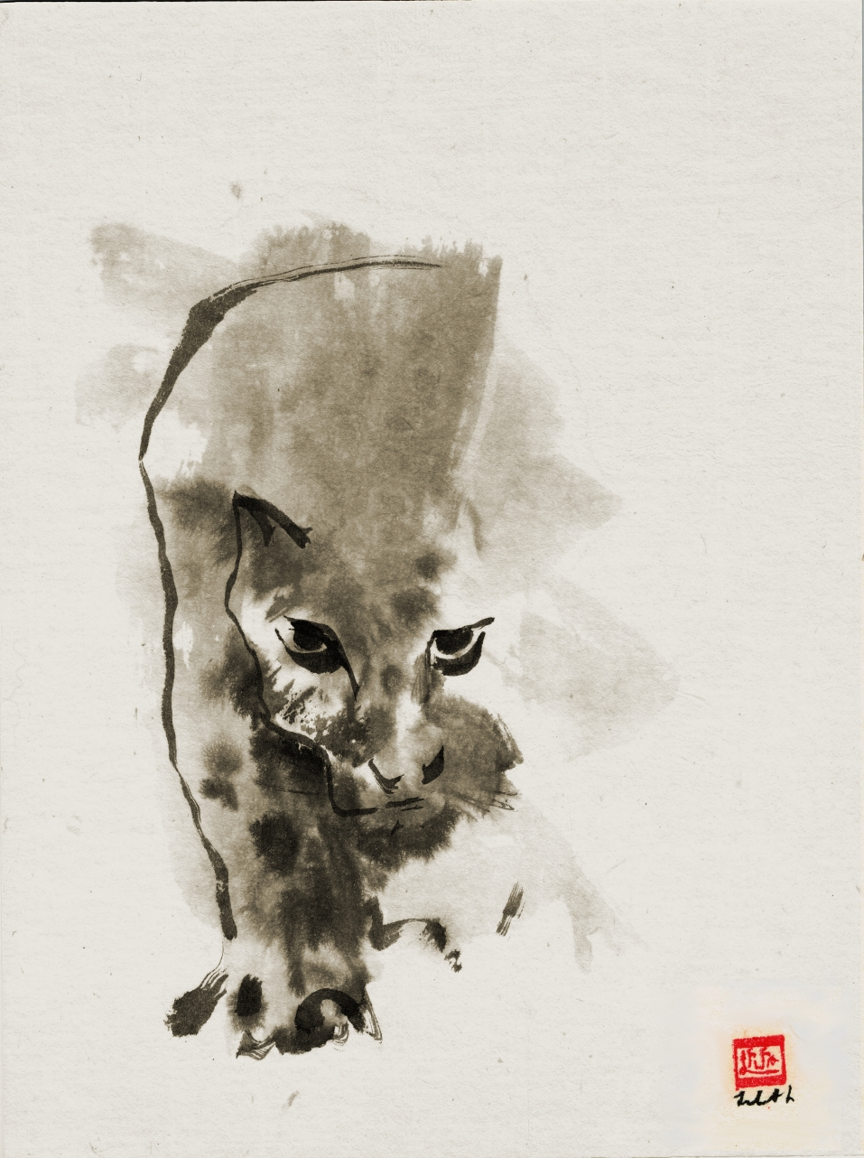 "Image of sumi-e painting of cat walking to illustrate blog article The Art of Leading ""Tao Te Ching"" verse 17 for Artists"