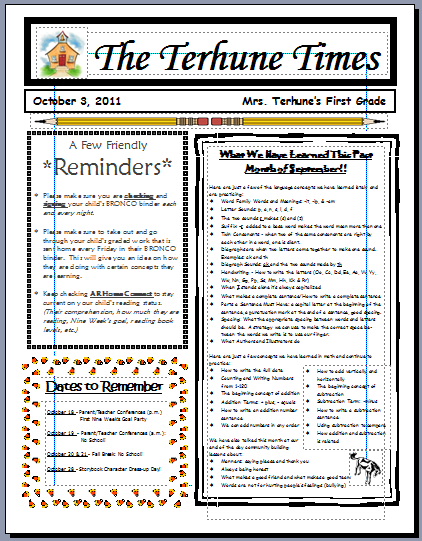 teaching with terhune monthly newsletters. Black Bedroom Furniture Sets. Home Design Ideas