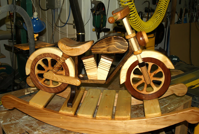 Wood project ideas motorcycle rocker of granddaughters for Woodworking plan for motorcycle rocker toy