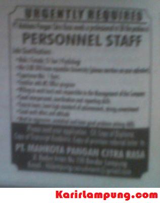 Lowongan Staff Personalia PT. Mahkota Pangan Citra Rasa Bandar Lampung