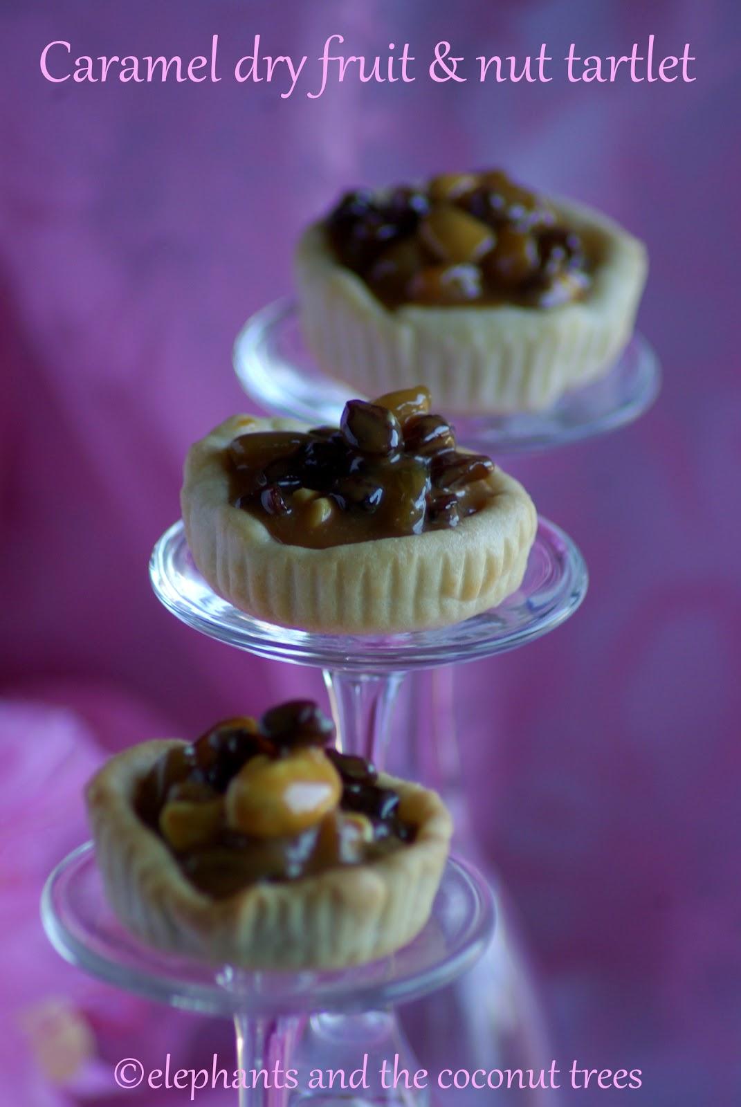 Dry fruit caramel tart / Caramel fruit and nut Tartlet / Mini tart ...