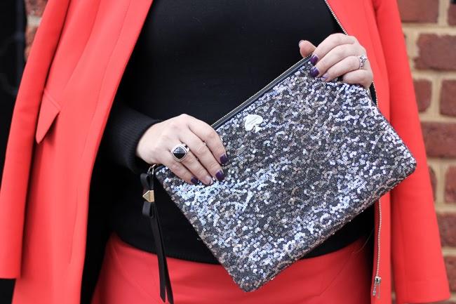 Kate Spade Silver Glitter Clutch