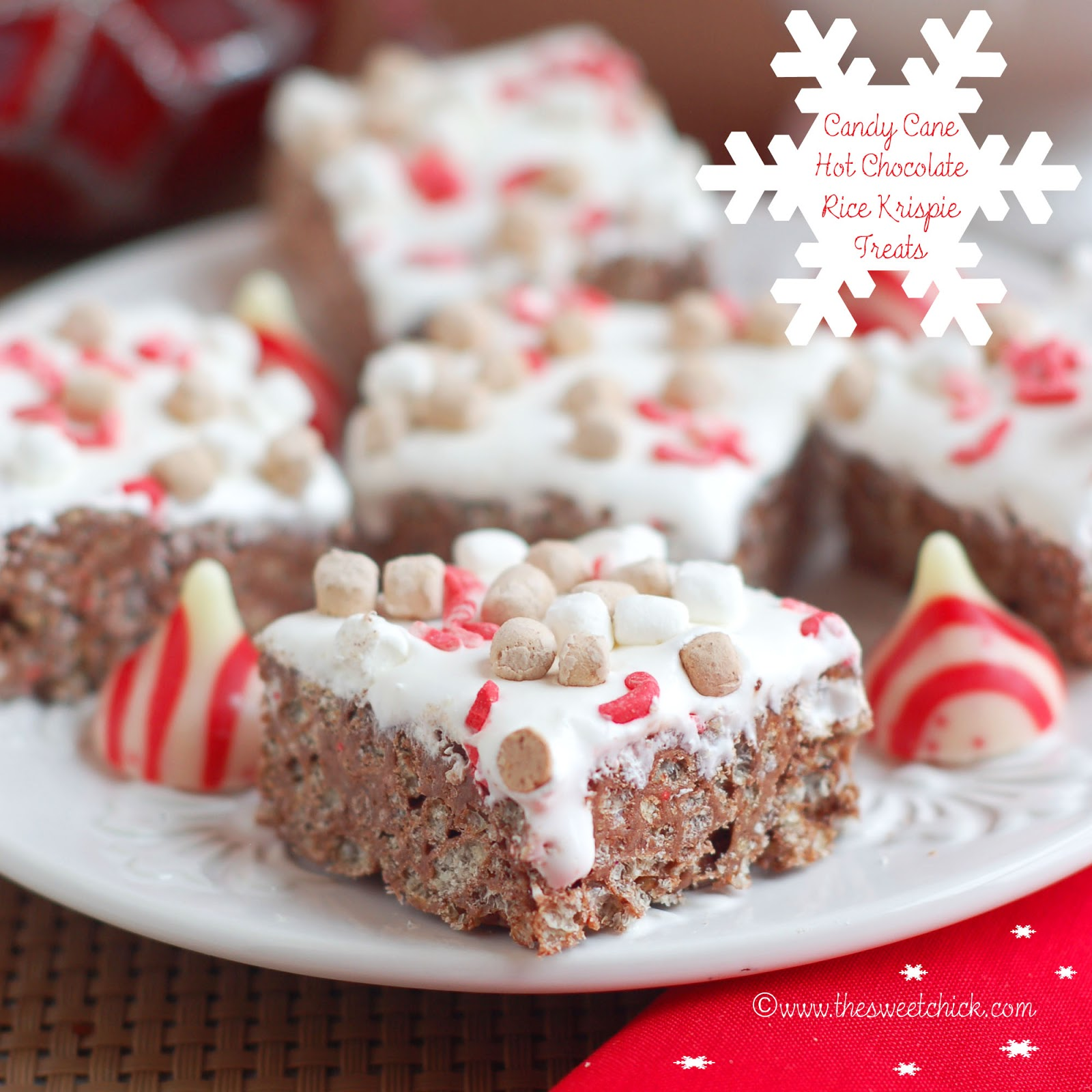 The Sweet Chick: Candy Cane Hot Chocolate Rice Krispie Treats ...