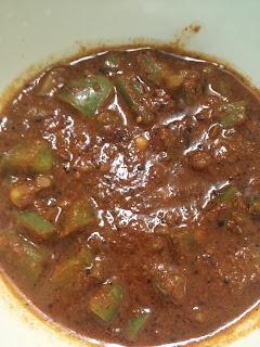 Capsicum Gojju,tamarind based curry,bell pepper,simla mirch