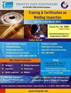 Welding Inspector Certification Courses in India at Bangalore