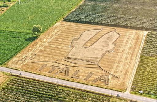 Mario Balotelli's crop circle in Verona