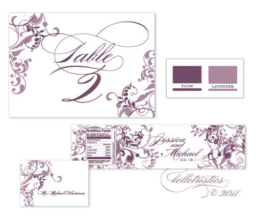 flourishes floral swirls swooshes lavender purple printable diy wedding invitation design