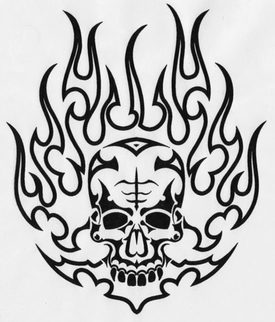 Black fire demon tattoo design for Black and white flame tattoo