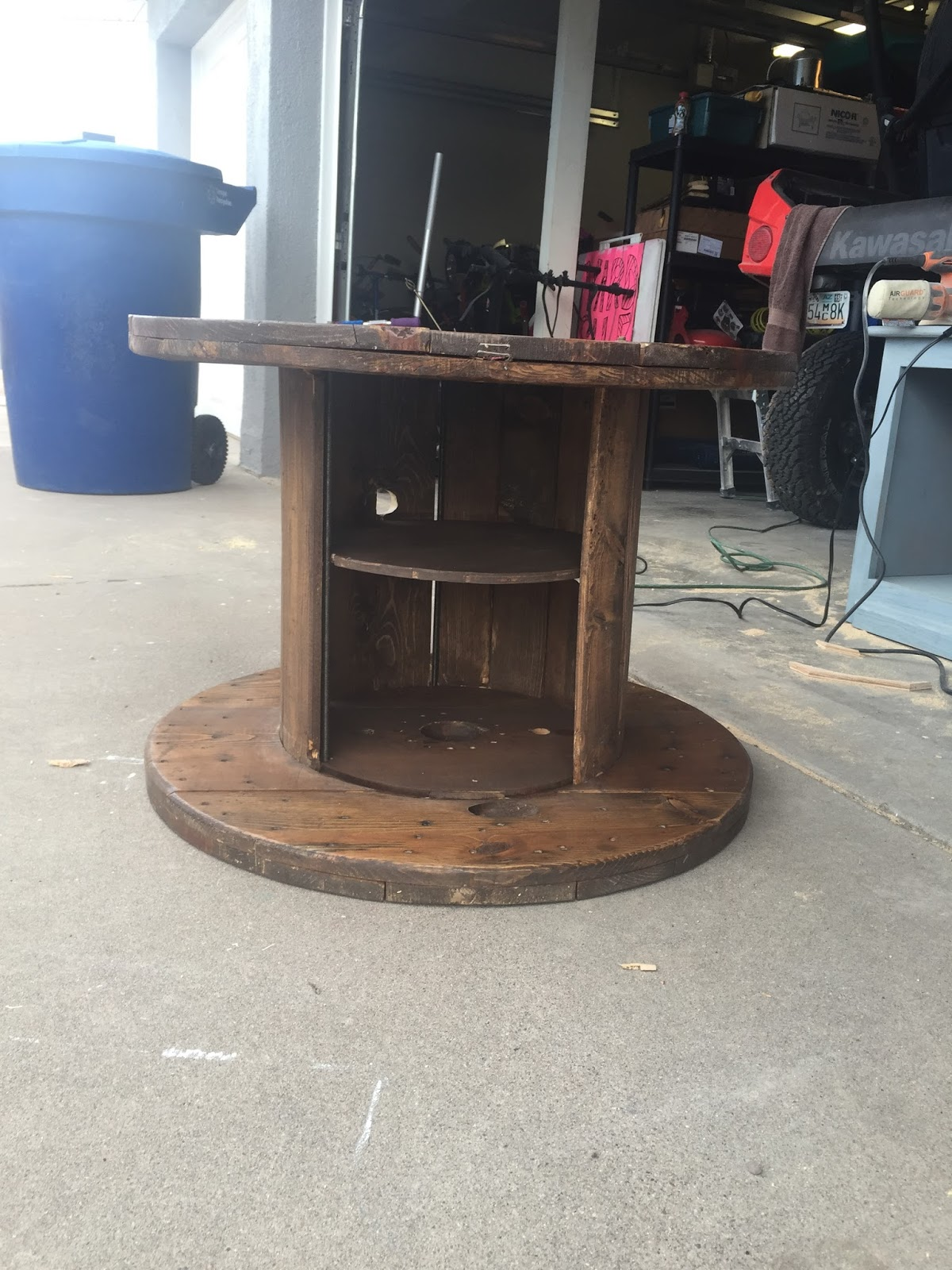 wooden spool turned tv stand