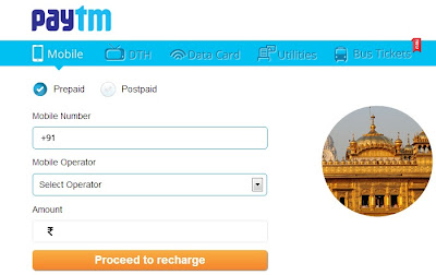 Recharge STD Pack, Mobile, DTH and Data Card from PayTM