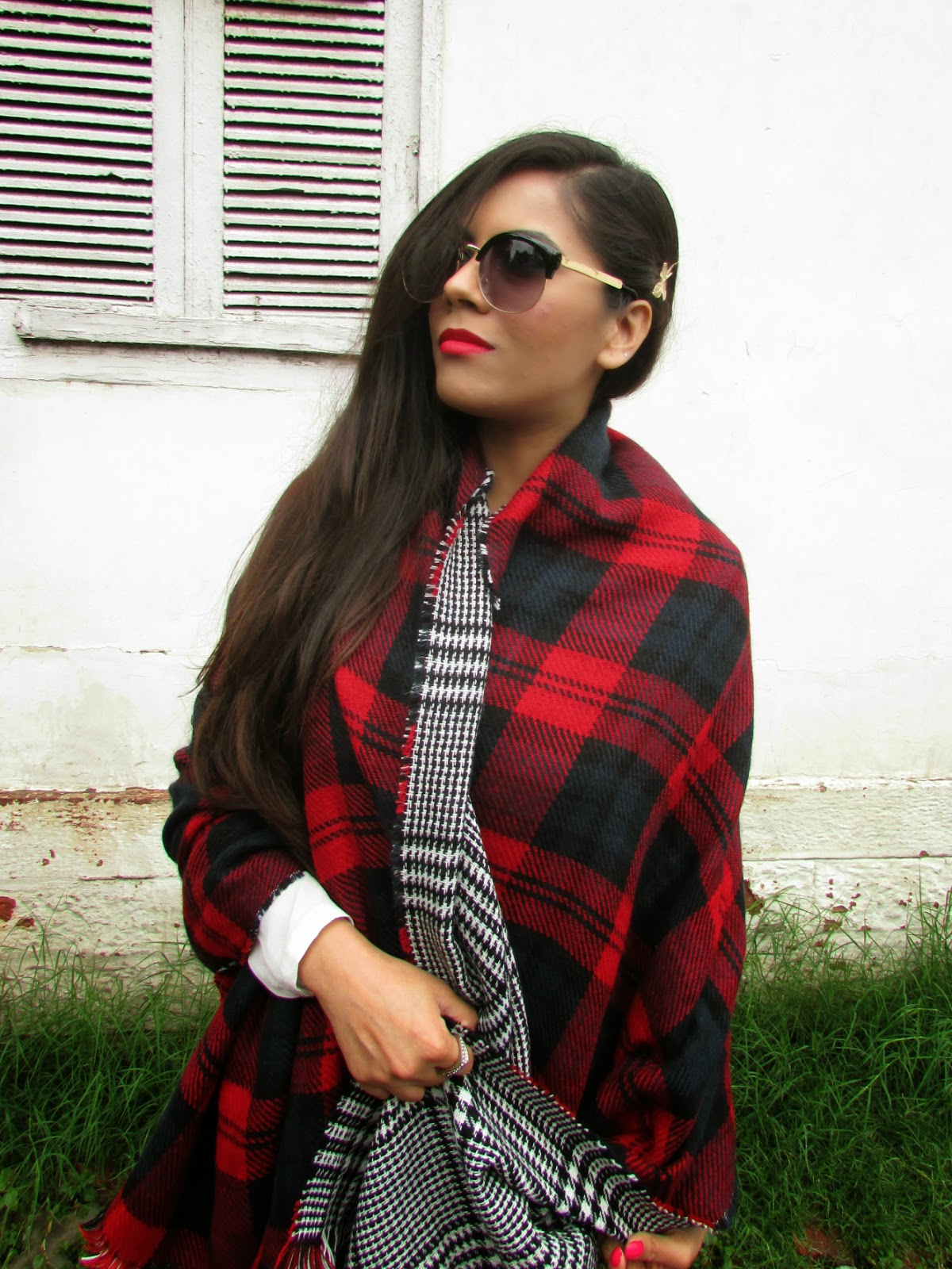 Plaid Tassel-Trim Scarf, plaid scarf, double sided plaid scarf, red plaid  scarf, black white plaid scarf, scarf cape, how to style plaid scarf, how to style cape, how to style plaid cape scarf, cheap scarf, oasap , oasap review, latest spring trends 2015, latest winter trend 2015,velvet leggings, how to style leggings, how to style velvet leggings, black velvet leggings, black leggings, fashion, winter trends 2015, black floral print leggings, Floral Detailed Skinny Leggings, cheap sunglasses india, cheap vintage sunglasses, fashion, OASAP, Sunglasses, vintage round sunglasses, vintage sunglasses,indian dahion bloggger, Statement necklace, necklace, statement necklaces, big necklace, heavy necklaces , gold necklace, silver necklace, silver statement necklace, gold statement necklace, studded statement necklace , studded necklace, stone studded necklace, stone necklace, stove studded statement necklace, stone statement necklace, stone studded gold statement necklace, stone studded silver statement necklace, black stone necklace, black stone studded statement necklace, black stone necklace, black stone statement necklace, neon statement necklace, neon stone statement necklace, black and silver necklace, black and gold necklace, blank and silver statement necklace, black and gold statement necklace, silver jewellery, gold jewellery, stove jewellery, stone studded jewellery, imitation jewellery, artificial jewellery, junk jewellery, cheap jewellery ,oasap Statement necklace, oasap necklace, oasap statement necklaces,oasap big necklace, oasap heavy necklaces , oasap gold necklace, oasap silver necklace, oasap silver statement necklace,oasap gold statement necklace, oasap studded statement necklace , oasap studded necklace, oasap stone studded necklace, oasap stone necklace, oasap stove studded statement necklace, oasap stone statement necklace, oasap stone studded gold statement necklace, oasap stone studded silver statement necklace, oasap black stone necklace, oasap b
