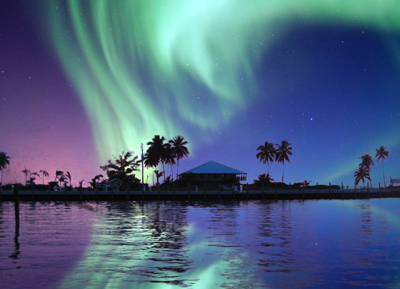 Aurora in the Caribbean. Artistic impression by ren@art.