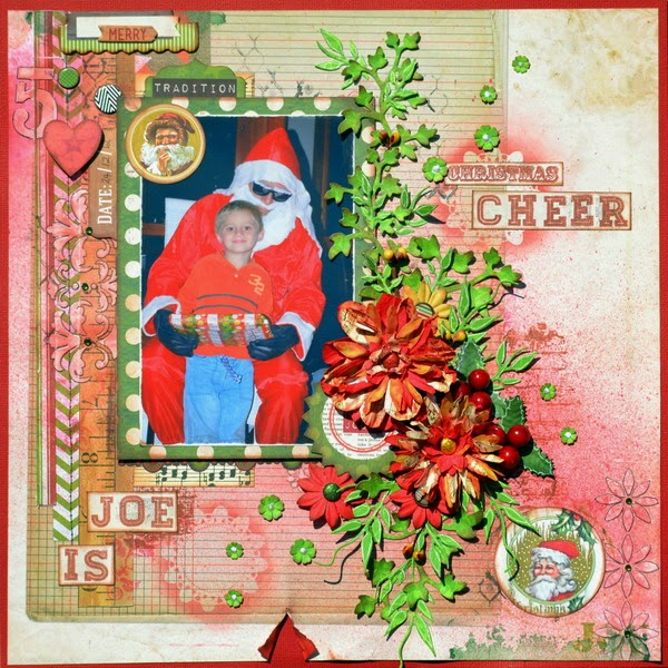 Joe is Christmas Cheer Scrapbook Layout by Denise van Deventer using BoBunny Christmas Collage 01