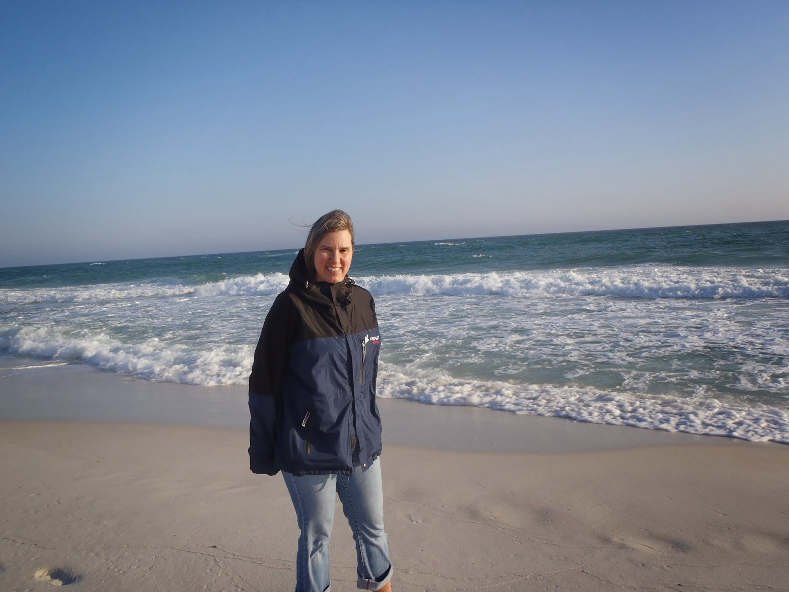 we then went down to pensacola beach it was very windy but a nice beach here is my bride on the beach